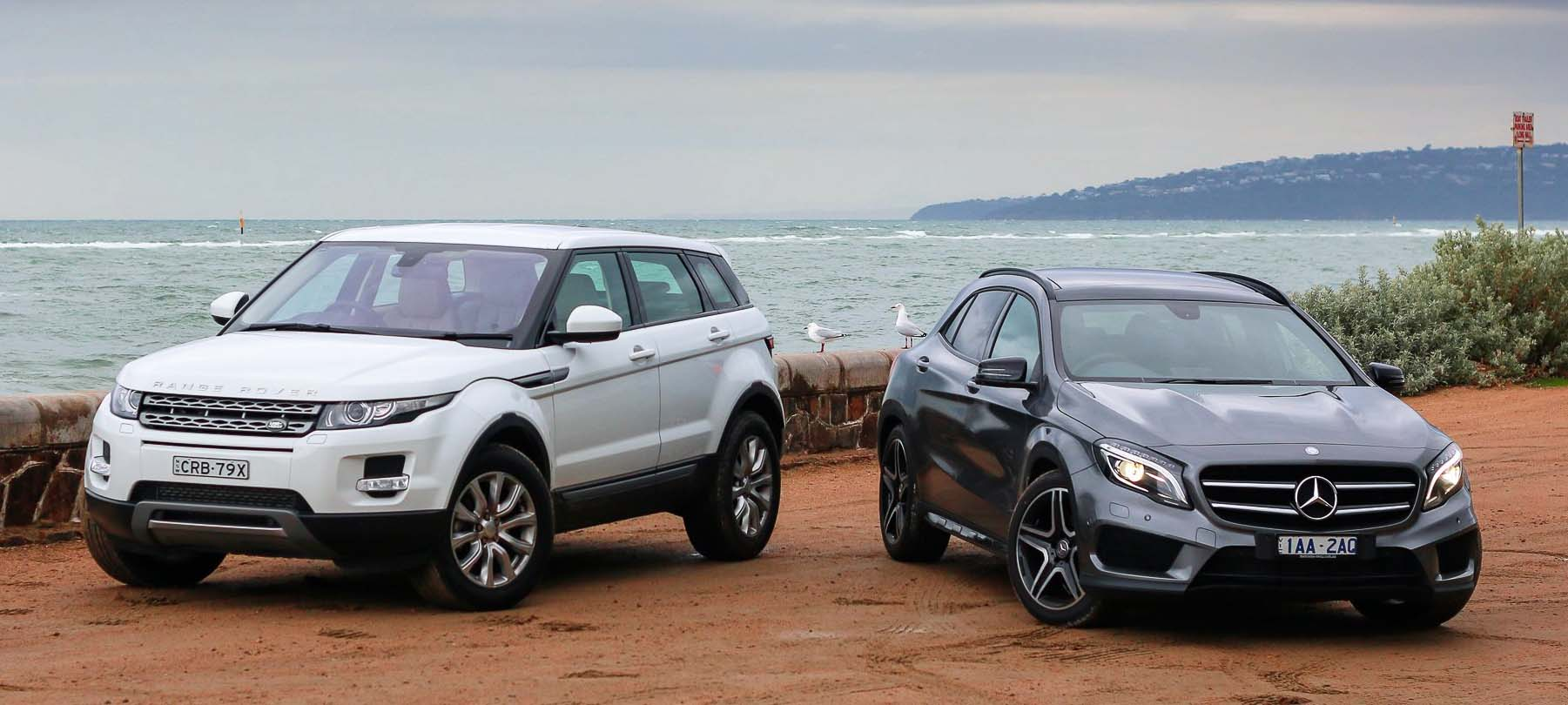 Mercedes and Range rover